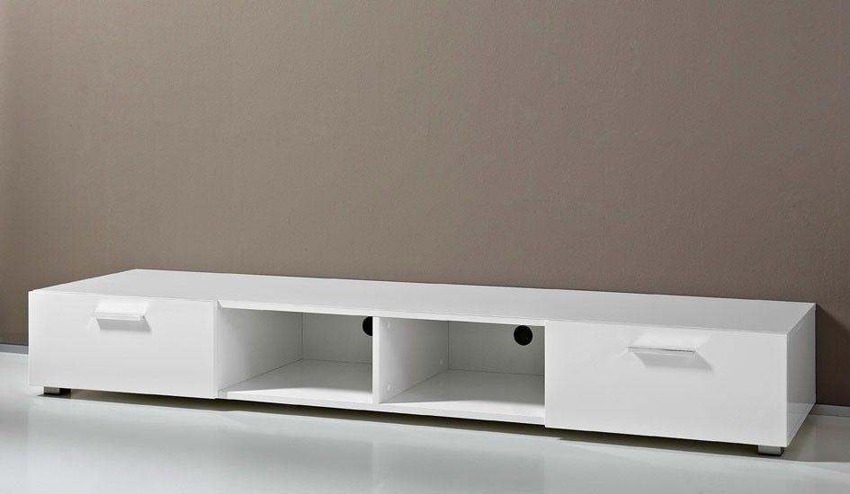 TV-Unterschrank in weiss Hochglanz lackiert Breit 200 cm