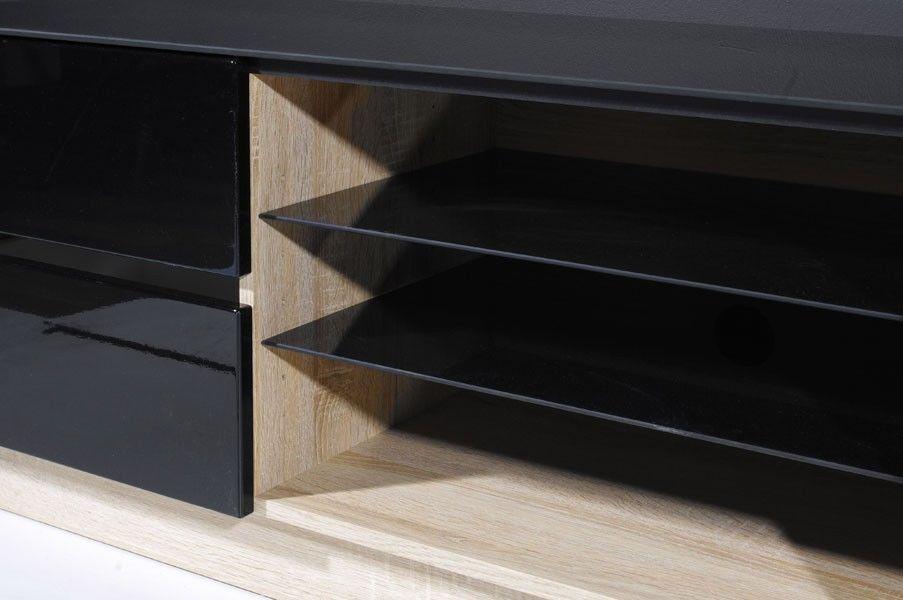 tv unterschrank schwarz hochglanz sonoma eiche breit 150 cm m bel 29. Black Bedroom Furniture Sets. Home Design Ideas