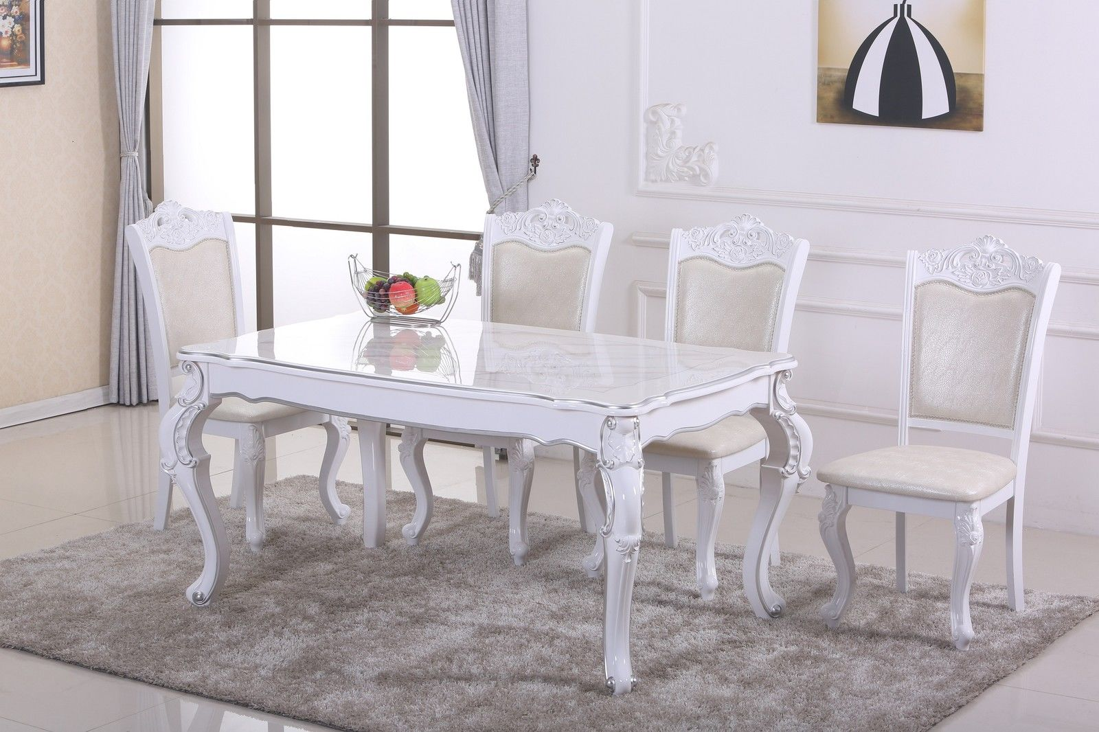 esstisch mit 6 st hle hochglanz massivholz m bel 29. Black Bedroom Furniture Sets. Home Design Ideas
