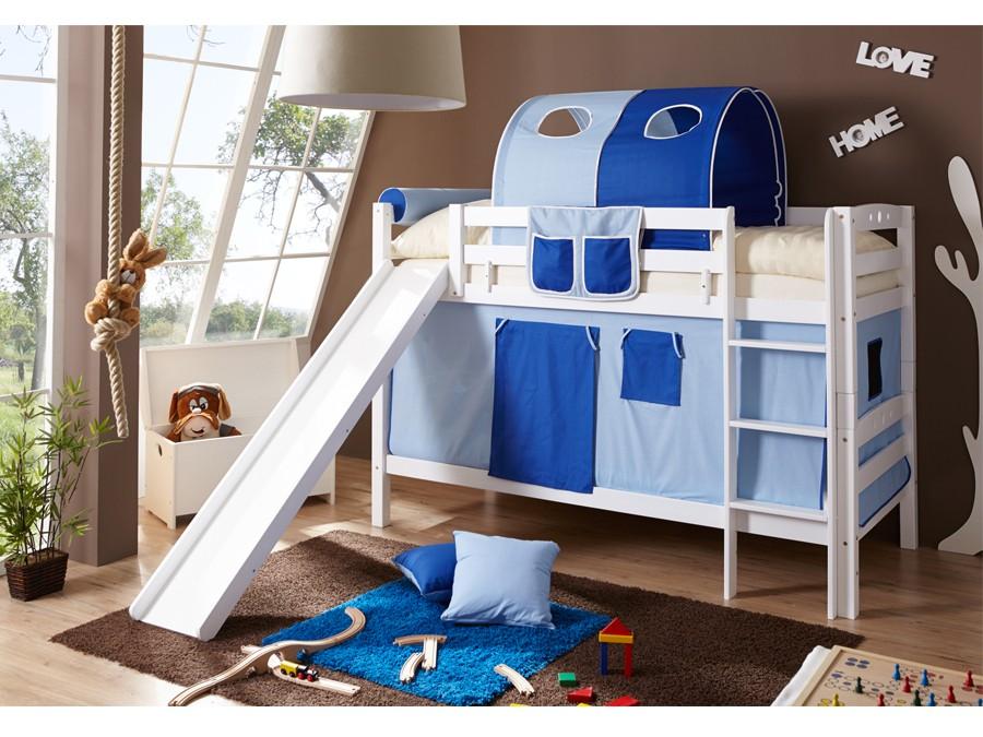 etagenbett mit rutsche lupo buche massiv wei m bel 29. Black Bedroom Furniture Sets. Home Design Ideas