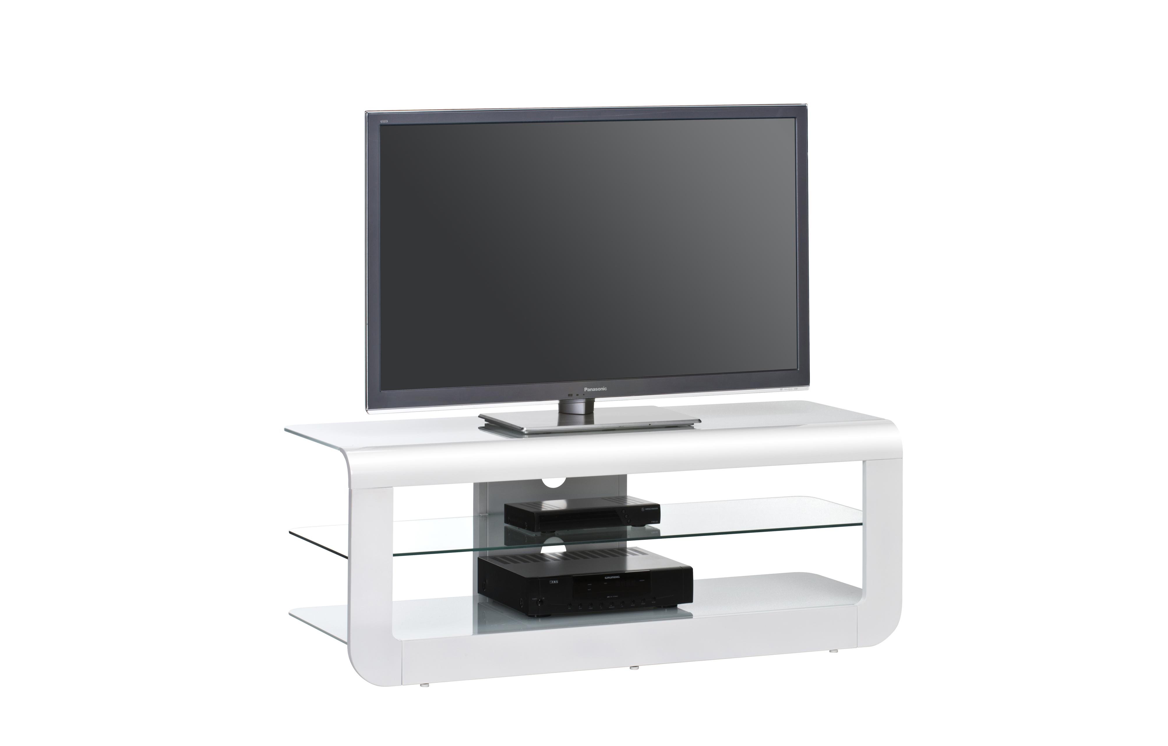 TV-Rack Weiß Hochglanz Weißglas