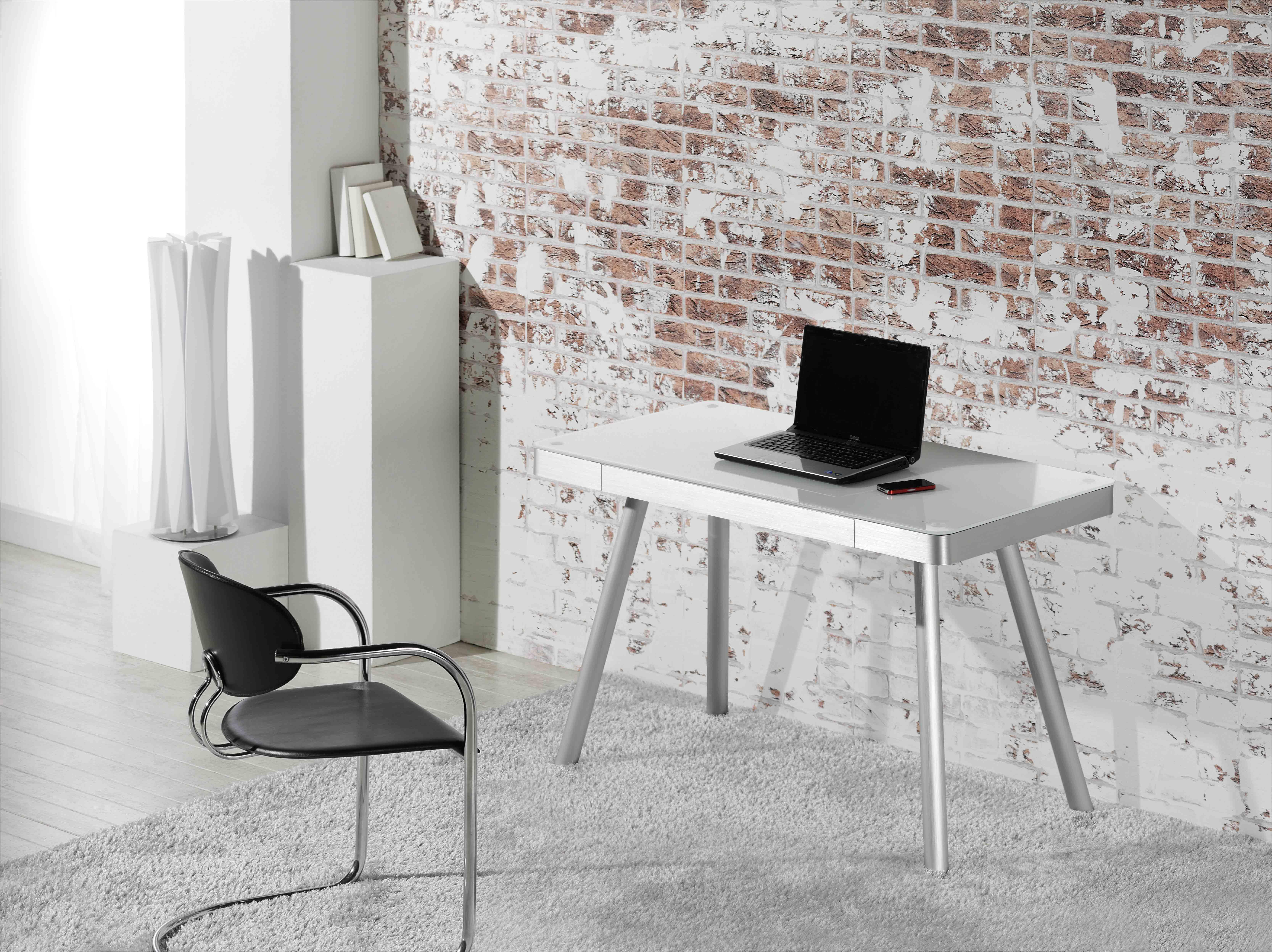 schreibtisch metall alu wei glas m bel 29. Black Bedroom Furniture Sets. Home Design Ideas