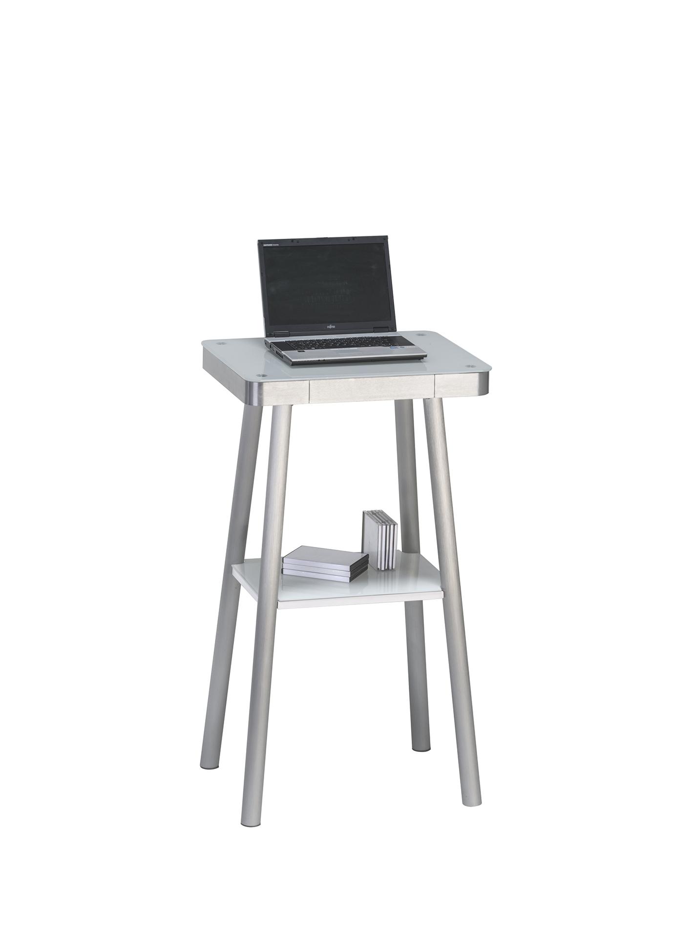 Stehpult Metall Alu – Weißglas | Möbel 29