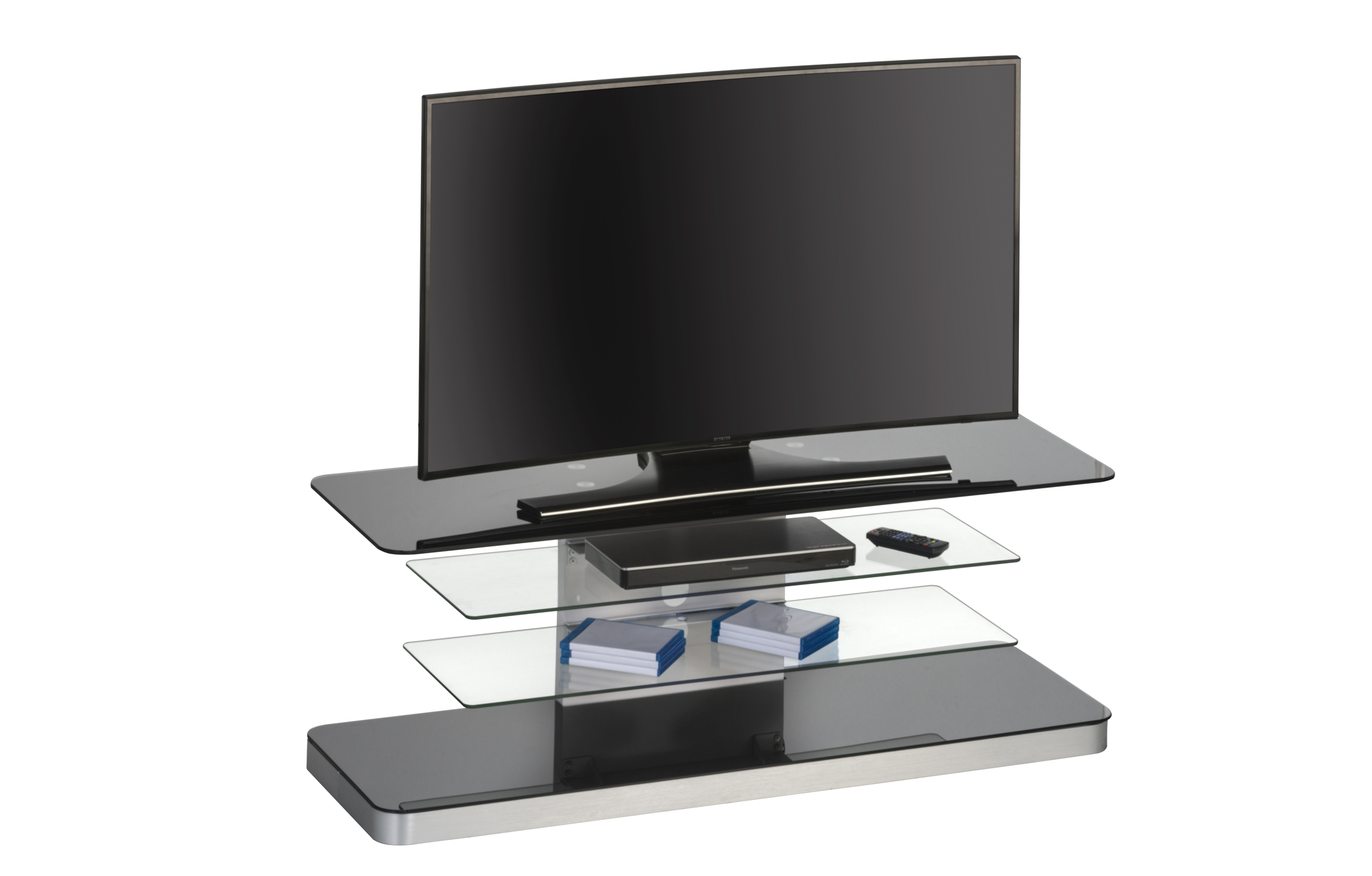 tv rack schwarzglas m bel 29. Black Bedroom Furniture Sets. Home Design Ideas